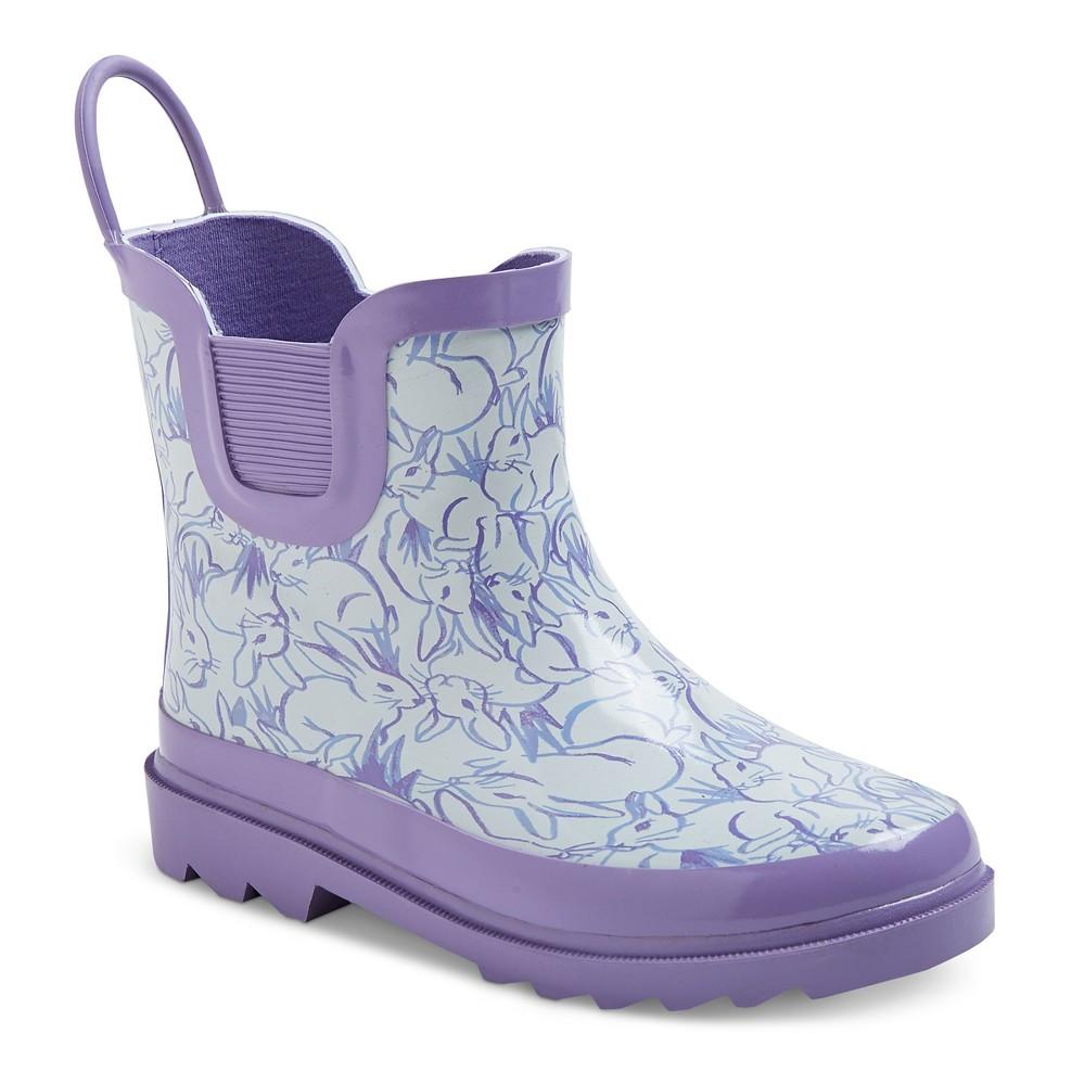 Toddler Girls' Back Loop Bunny Print Rain Boots Cat & Jack- Purple 6