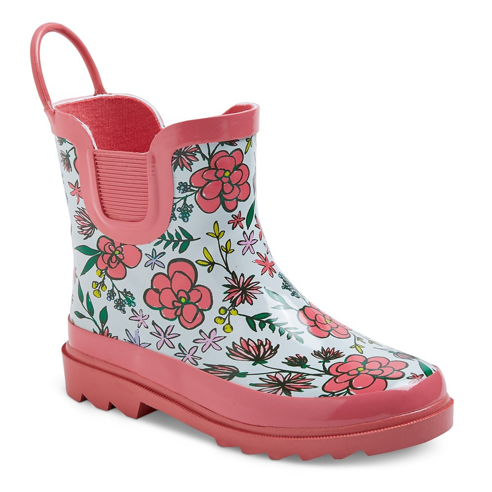Toddler Girls Back Loop Floral Print Rain Boots Cat & Jack- Pink 13