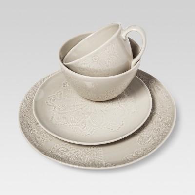 Kellen Stone Stoneware Dinnerware Set 16pc Beige - Threshold™
