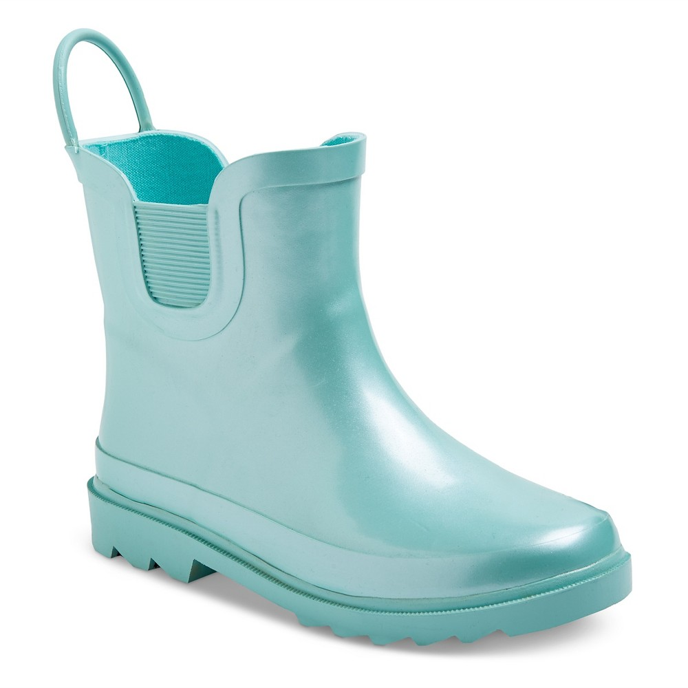 Toddler Girls Back Loop Rain Boots 7 - Cat & Jack - Pearlized Mint (Green)