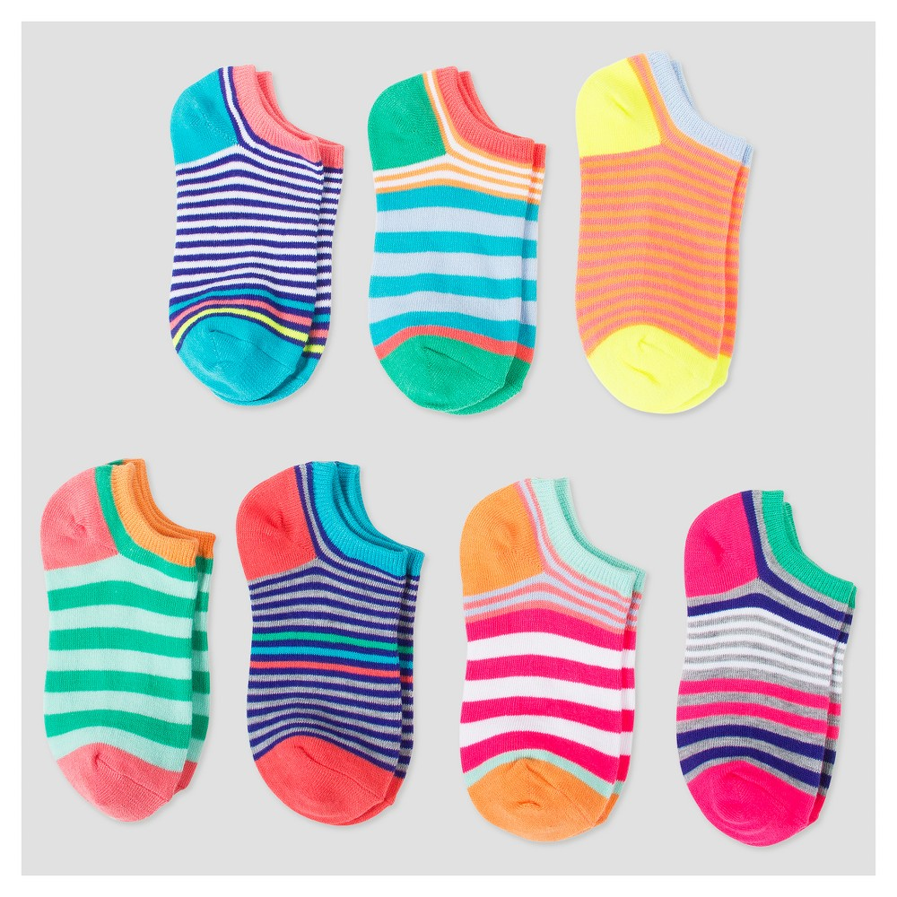 Girls 7pk No Show Socks - Cat & Jack Multi-Stripes S, Multicolored