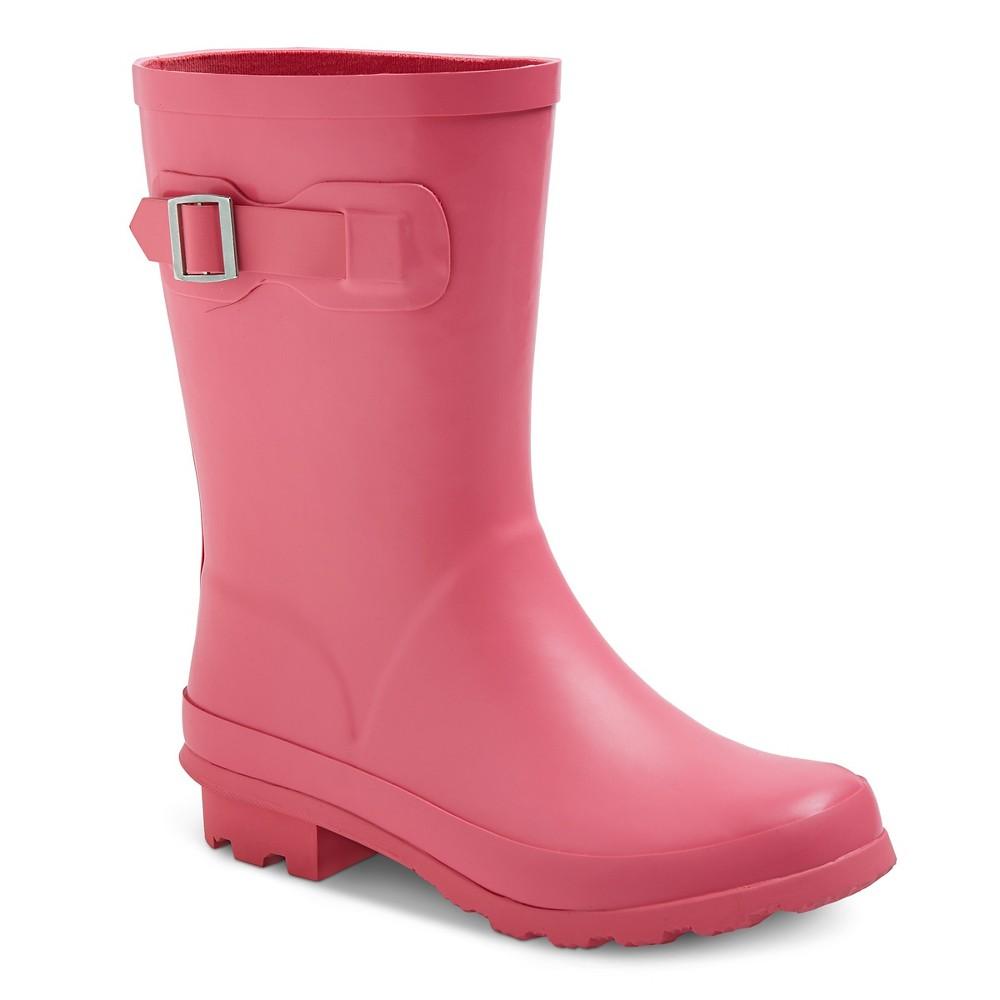 Toddler Girls Tall Buckle Matte Rain Boots 6 - Cat & Jack - Pink