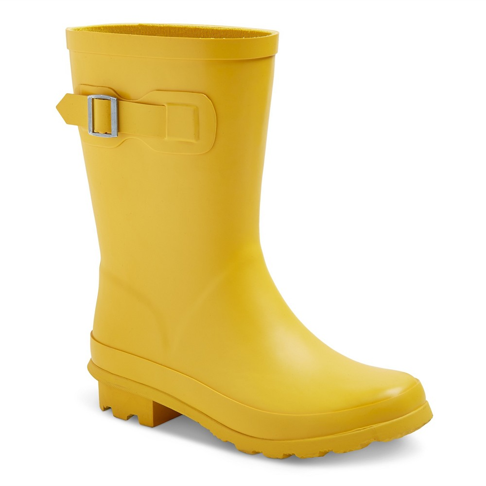 Toddler Girls Tall Buckle Matte Rain Boots 12 - Cat & Jack - Yellow