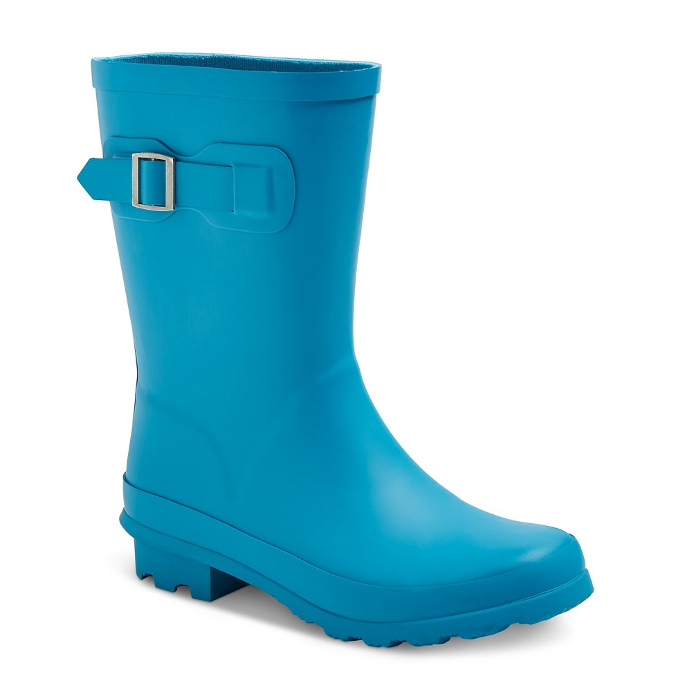 Toddler Girls Tall Buckle Matte Rain Boots 12 - Cat & Jack - Turquoise