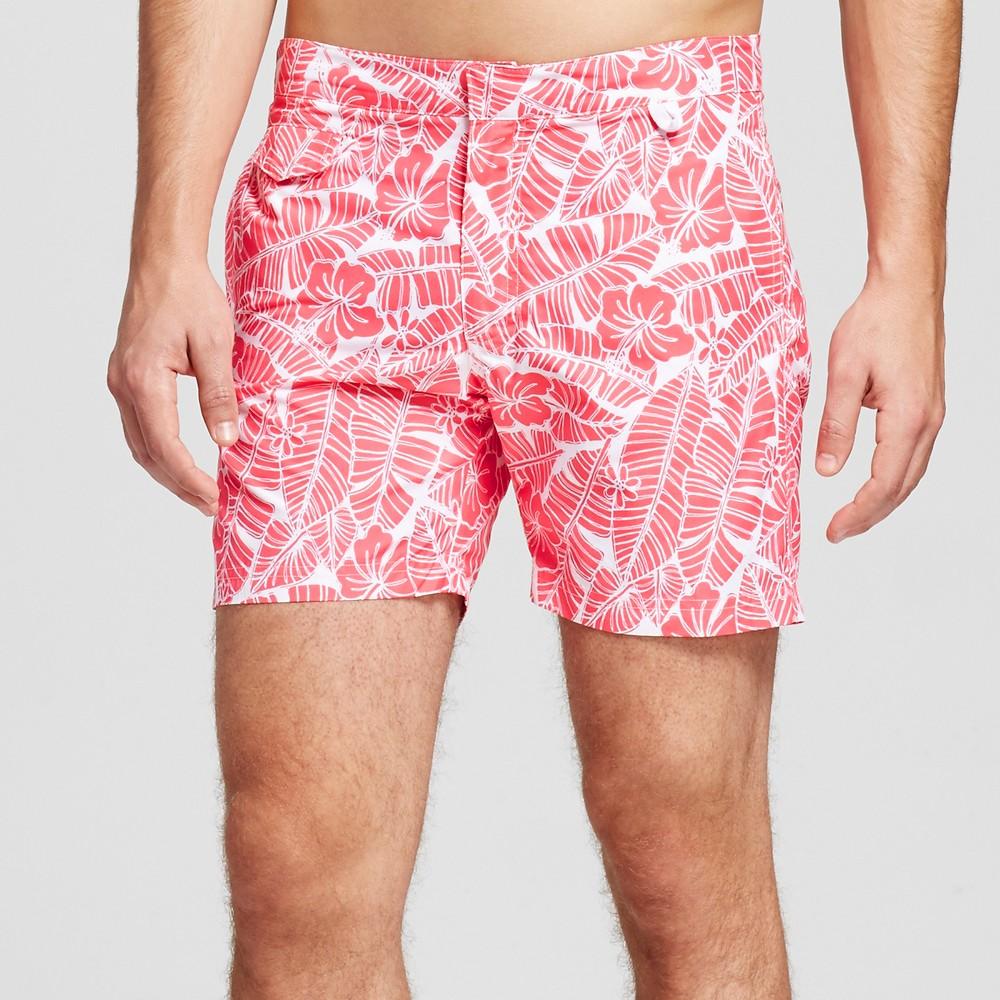 Mens Swim Trunks Floral Print Red 38 - Ibiza, Pink