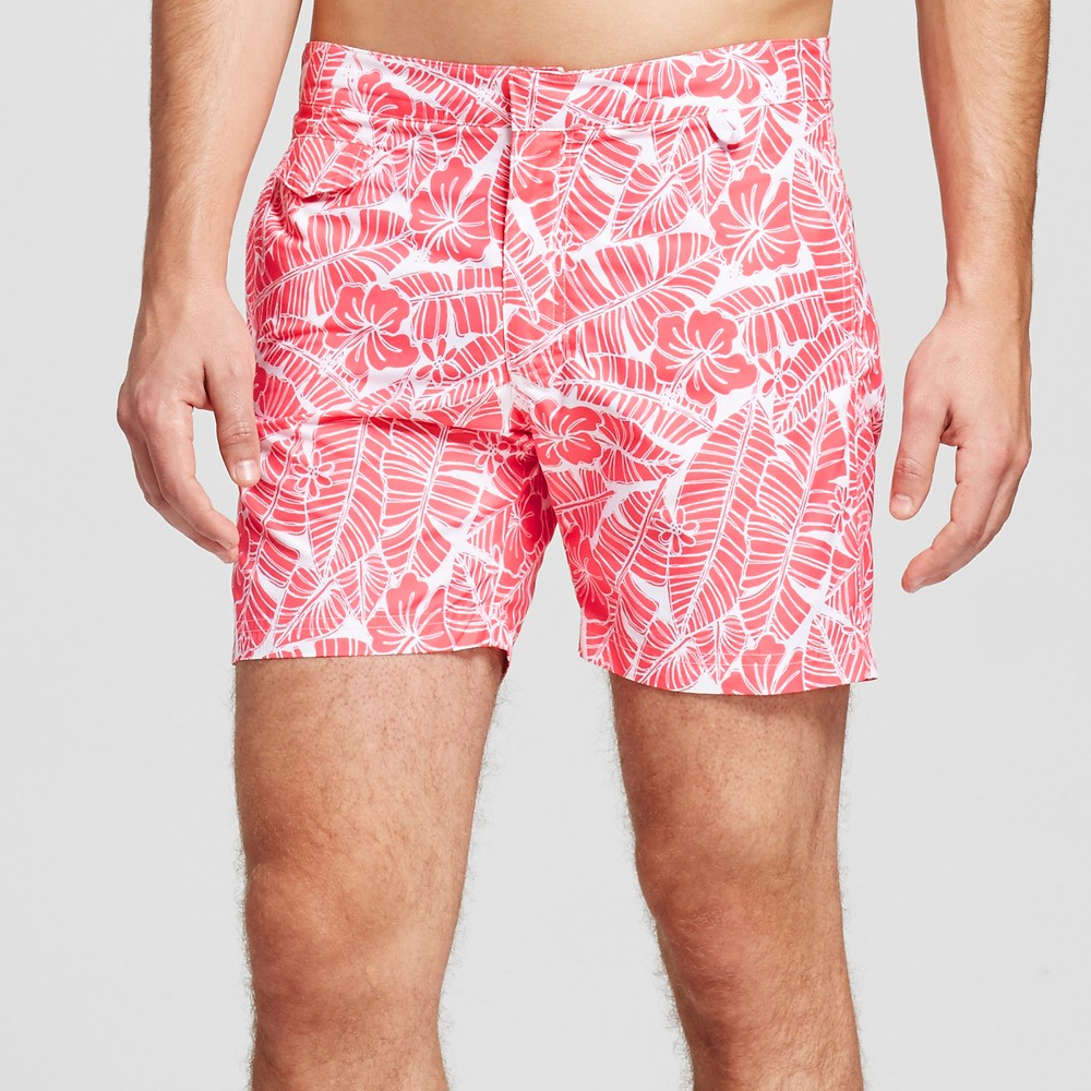 Mens Swim Trunks Floral Print Red 32 - Ibiza, Pink