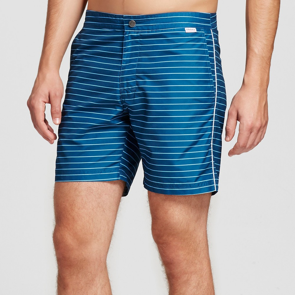 Mens Swim Trunks Horizontal Stripe Blue 30 - Ibiza