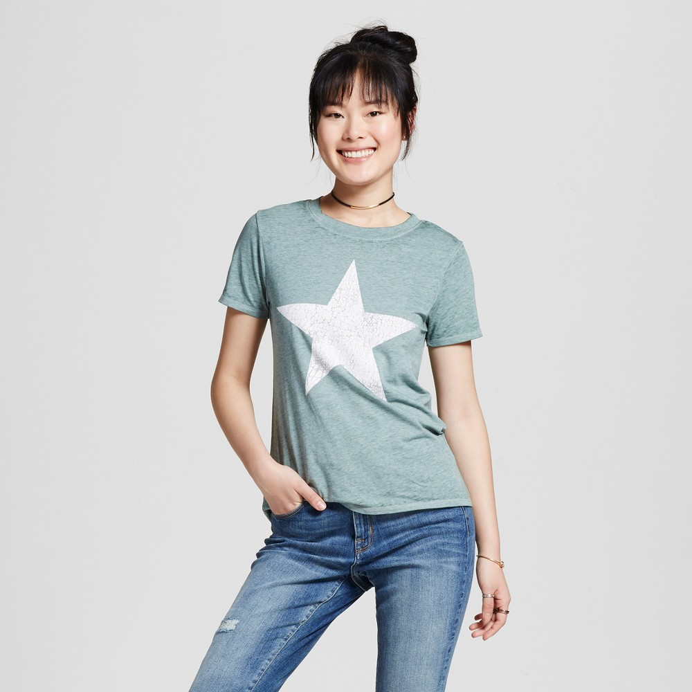 Womens Distressed Star Graphic T-Shirt Green M - Modern Lux (Juniors)