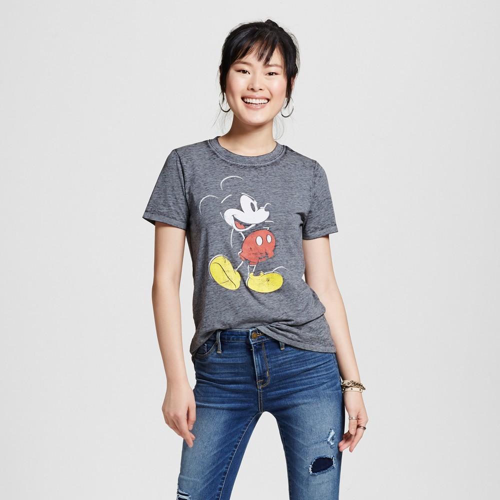 Womens Disney Mickey Mouse Graphic T-Shirt Black S (Juniors)