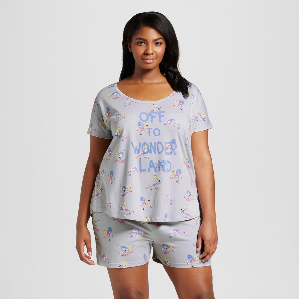 Womens Disney Wonder Land Alice Plus Size Pajama Set - Light Gray 3X