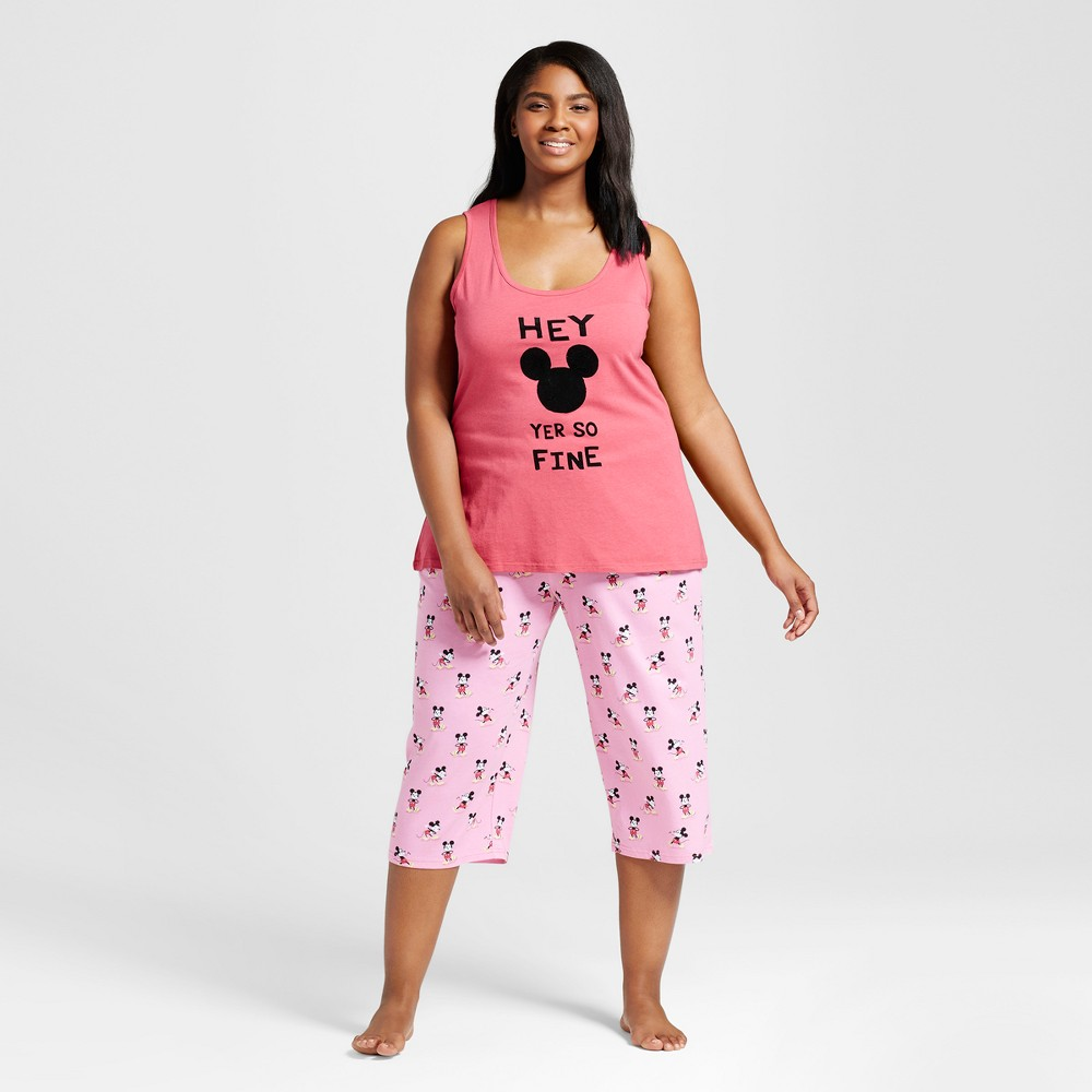 Women's Disney Mickey Plus Size Pajama Set - Coral Mickey 3X, Pink