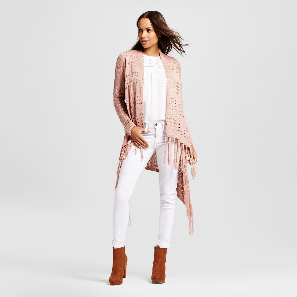 Women's Pointelle Fringe Cardigan with Waterfall Front Copper Brown Xxl – Knox Rose