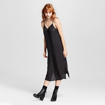 Women's Polka Dot Print Woven Slip Dress Black & White XXL - Mossimo™