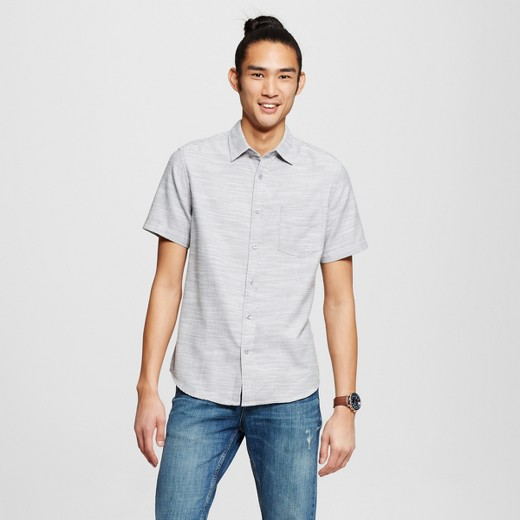 Men's Short Sleeve Button Down Shirt Gray - Mossimo Supply Co ...