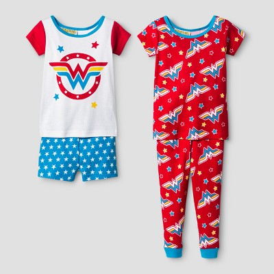 Toddler Girls' Wonder Woman Pajama Set - White 2T