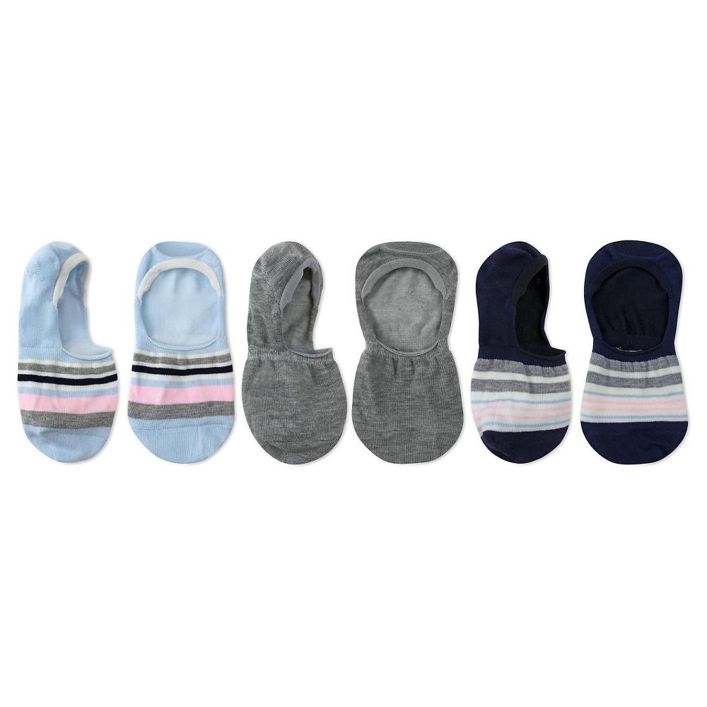 Charlotte Womens 3pk Seamless Shoe Liners - Stripes - Blue Combo One Size