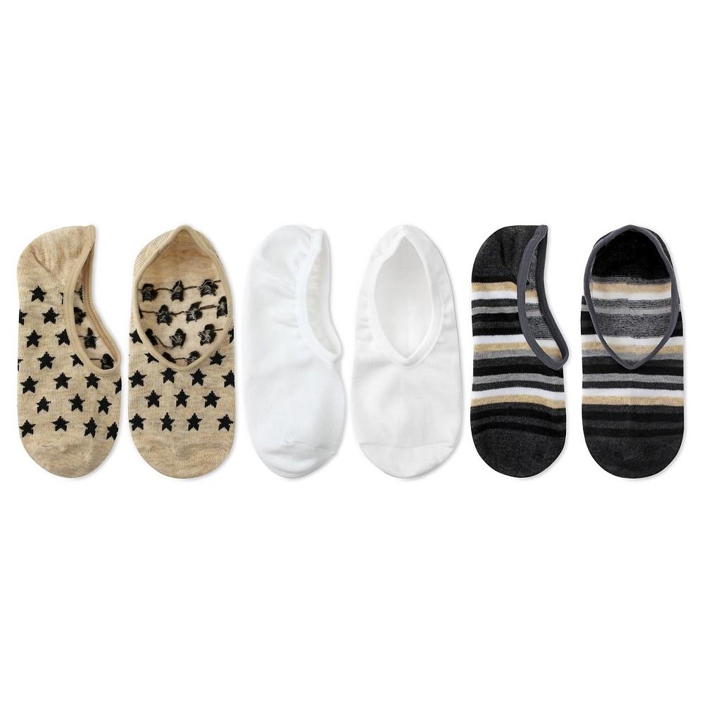 Charlotte Womens 3pk No Show Sneaker Socks - Stars - Natural Combo One Size