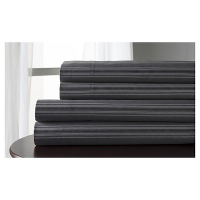 Regent Stripe 100% Cotton Print Sheet Set (King)Charcoal