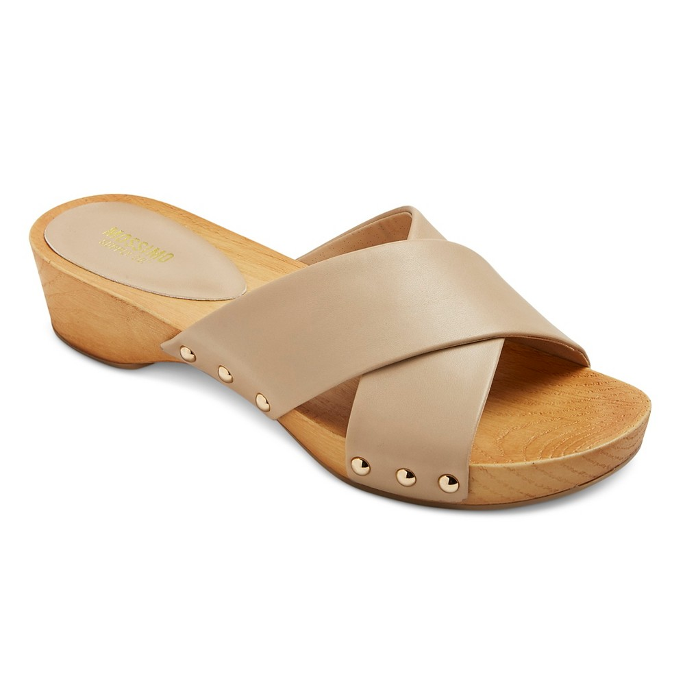 Womens Holly Cross Strap Clog Slide Sandals - Mossimo Supply Co. Natural 6, Size: 9
