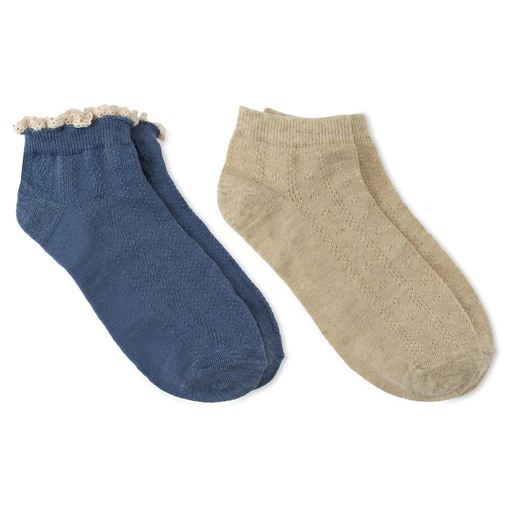 Charlotte Womens 2pk Low Cut Sock - Cable & Pointelle - Blue Combo One Size