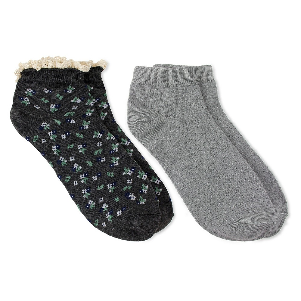 Charlotte Womens 2pk Low Cut Sock - Floral & Pointelle - Androgynous Gray Combo One Size, Dark Gray
