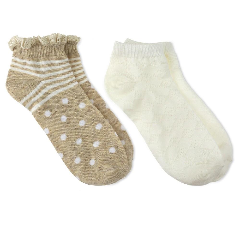Charlotte Womens 2pk Low Cut Sock - Stripes & Dots - Ivory Combo One Size