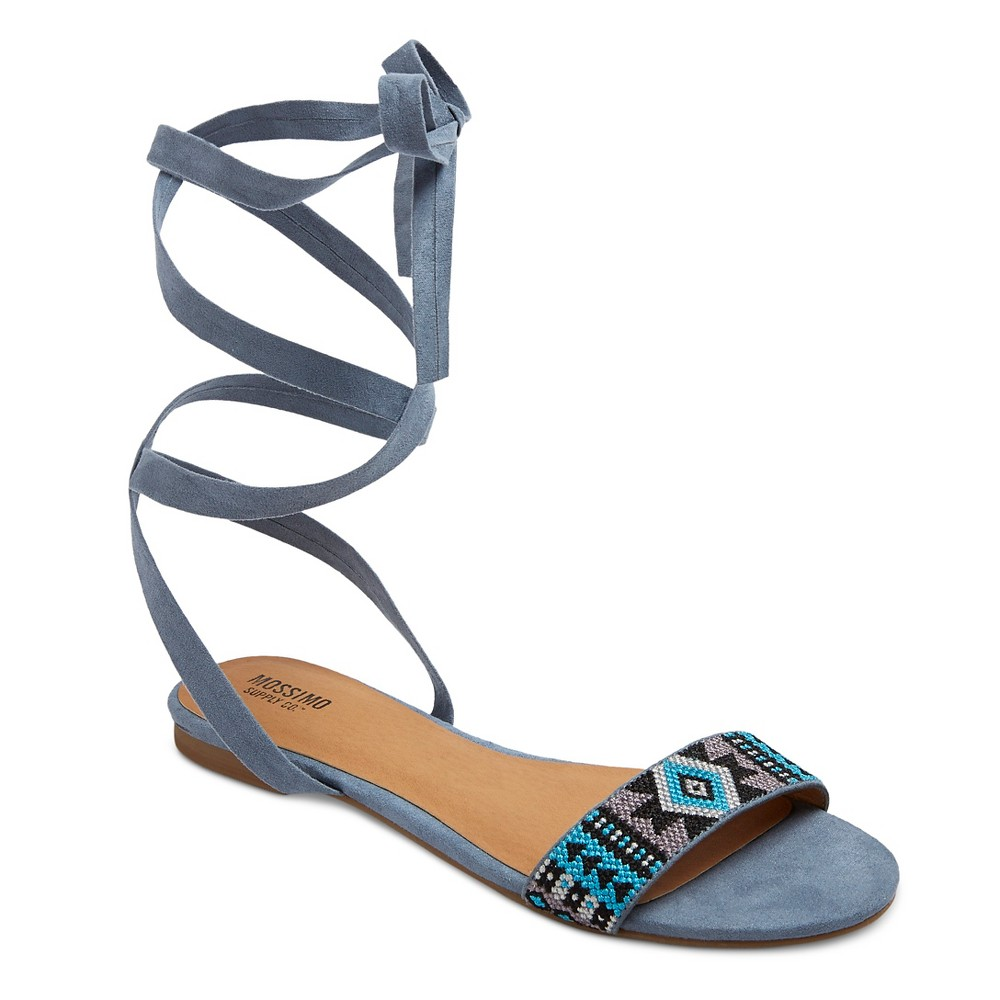 Womens Joanna Ankle Wrap Beaded Quarter Strap Sandals - Mossimo Supply Co. Blue 9.5