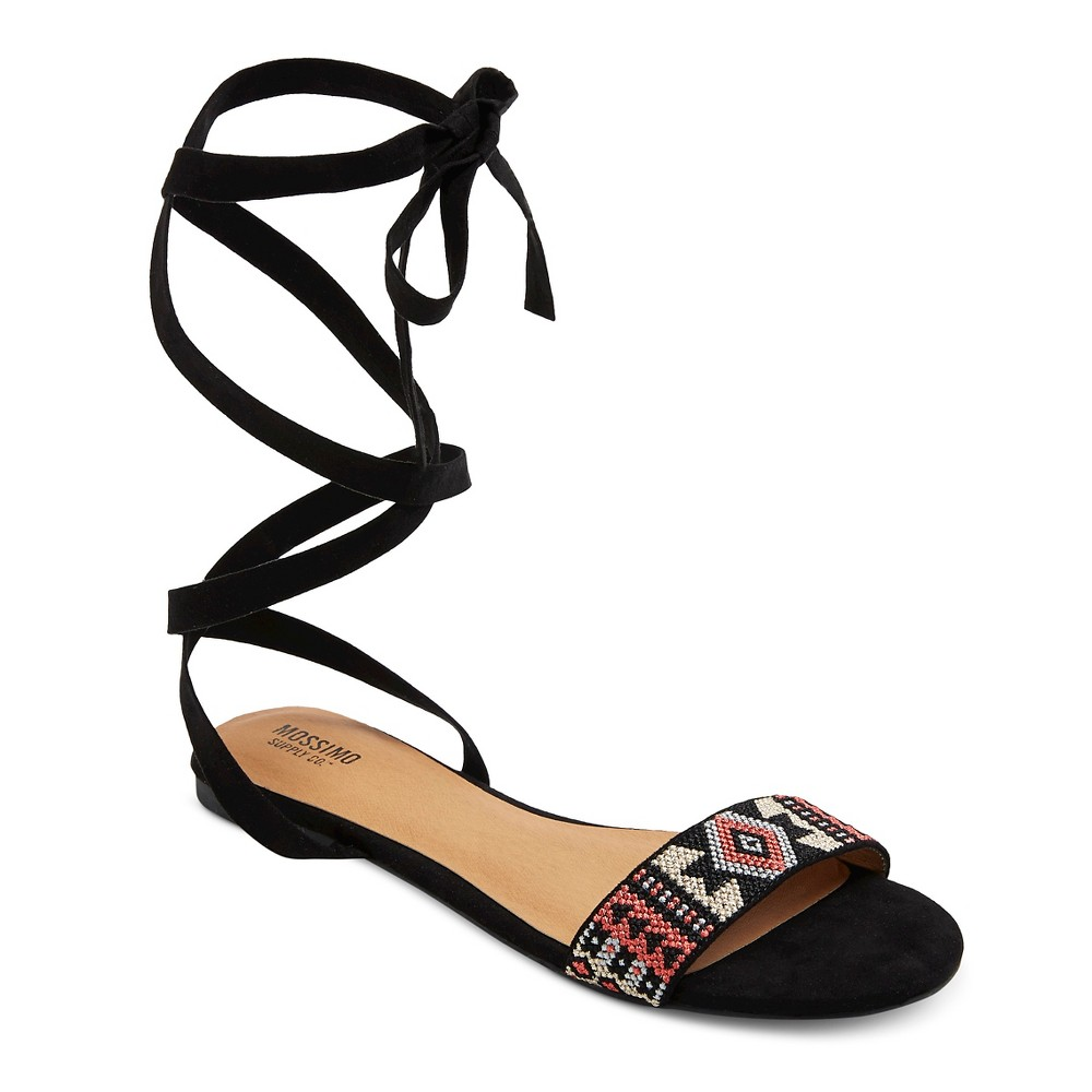 Women's Joanna Ankle Wrap Beaded Quarter Strap Sandals - Mossimo Supply Co. Black 6