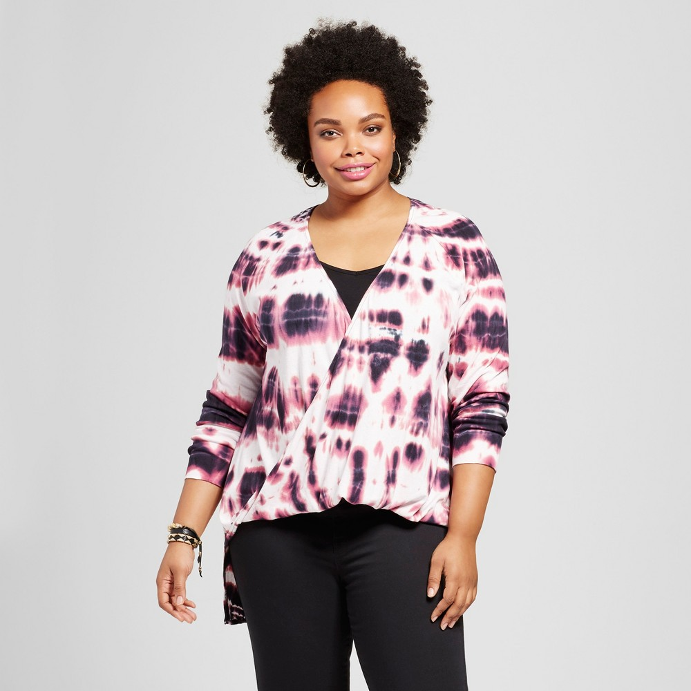 Womens Plus Size Tie Dye Wrap Long Sleeve Top - Ava & Viv Black 1X