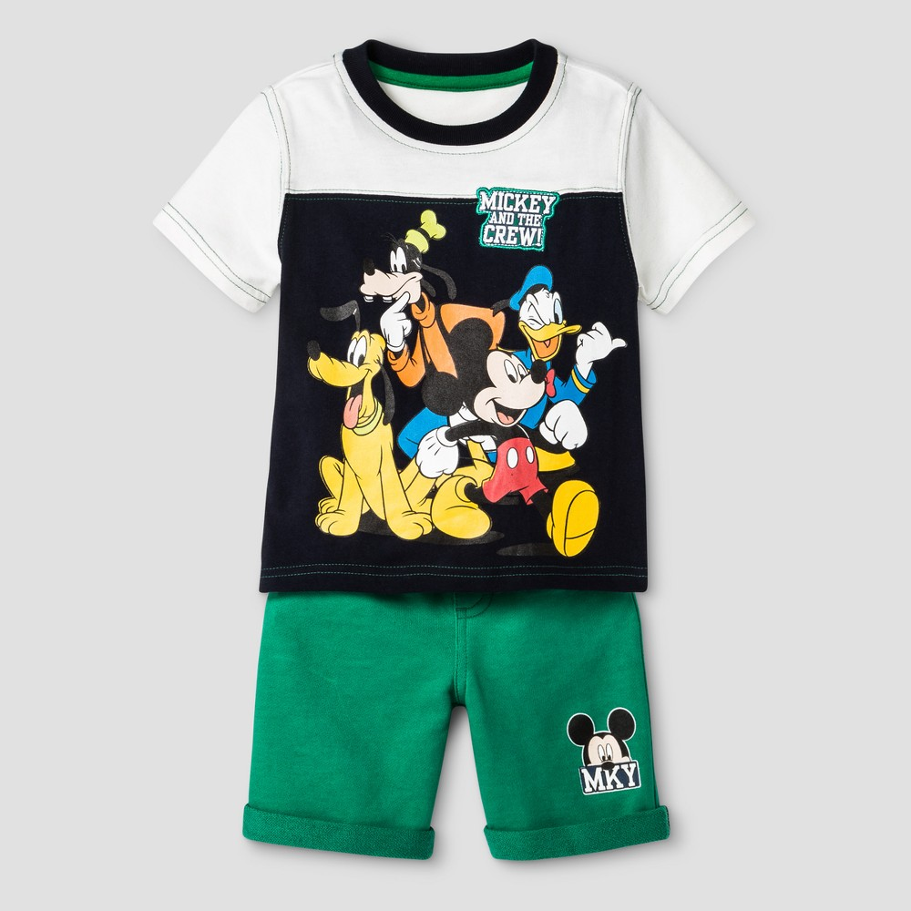 Toddler Boys Mickey Mouse & Friends Top And Bottom Set Green 12M, Size: 12 M