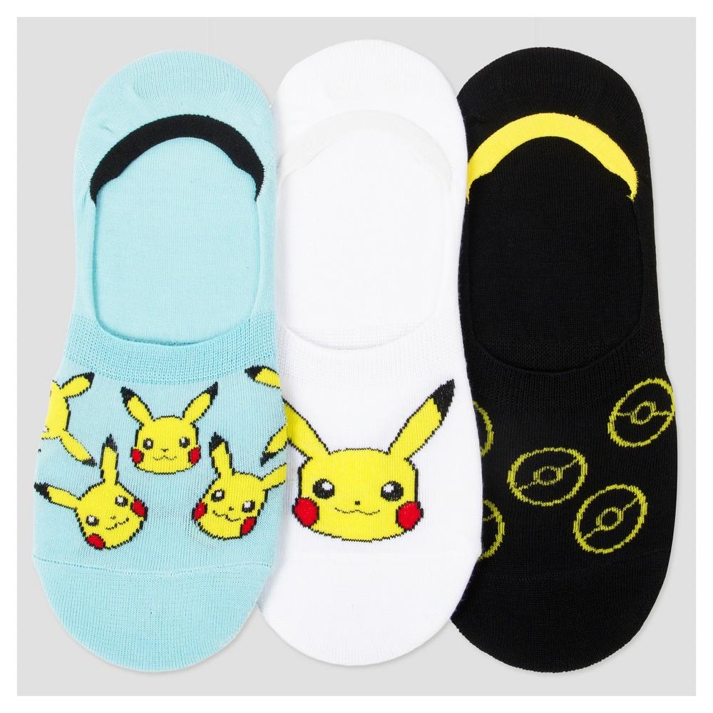 Womens 3-pk Liner Socks Pokemon 9-11, Multi-Colored