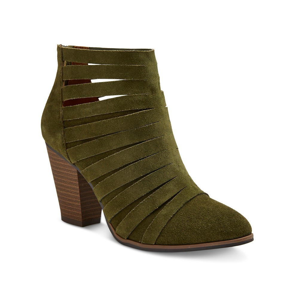 Womens Jordache Strappy Suede Block Heel Booties - Mossimo Supply Co. Olive (Green) 9.5