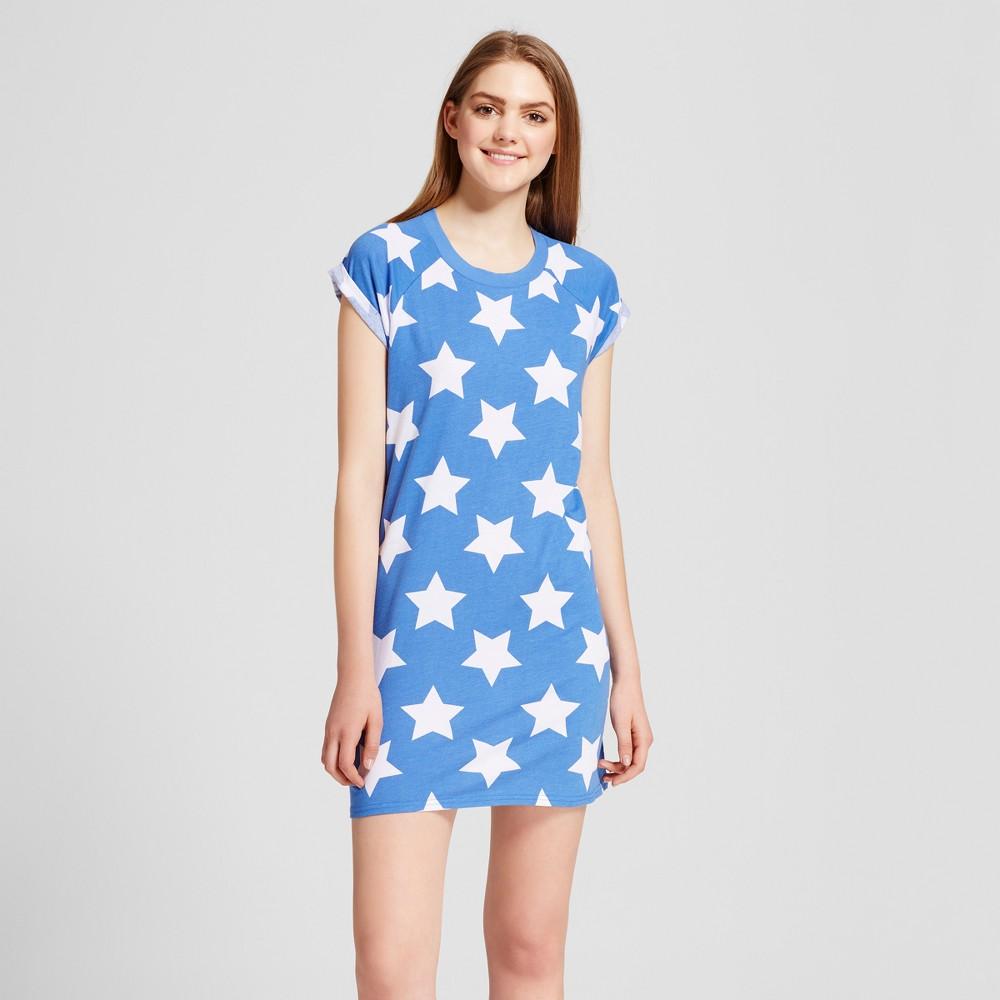 Womens Snooze Button Pajamas Stars Sleepshirt - Blue XL