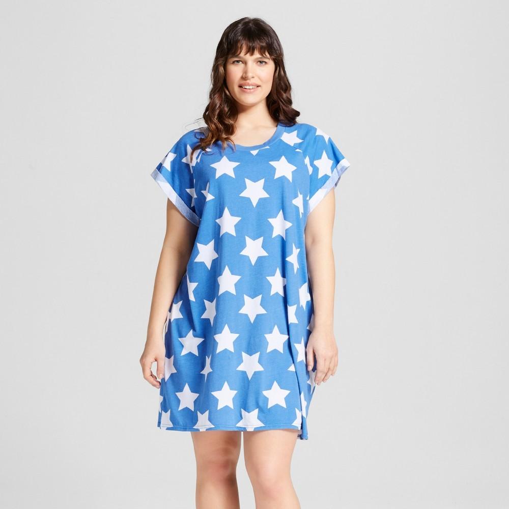 Snooze Button Womens Plus Size Pajamas Blue Stars Sleepshirt 1X