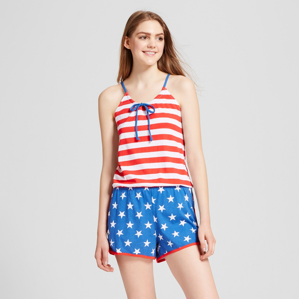 Snooze Button Womens Flag Sleep Romper - Red/White/Blue M, Multicolored