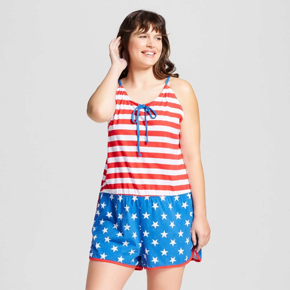 Snooze Button Womens Plus Size Flag Sleep Romper - Red/White/Blue 2X, Multicolored