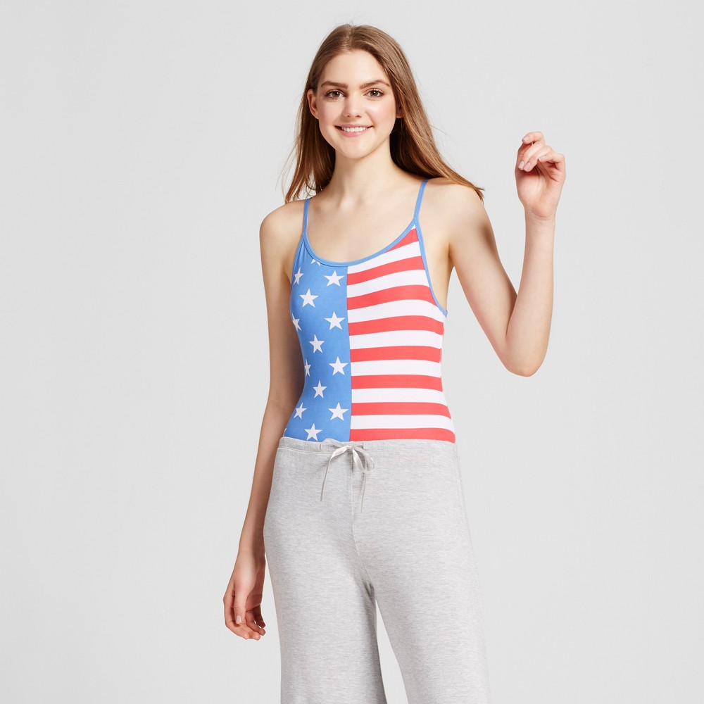 Womens Snooze Button Pajamas Flag Bodysuit - Red/White/Blue M, Multicolored