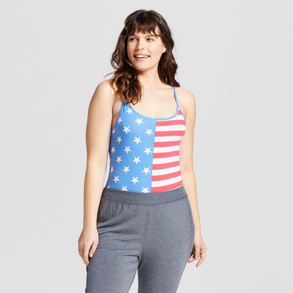 Snooze Button Womens Plus Size Pajamas Flag Bodysuit - White/Blue/Red 1X, Multicolored