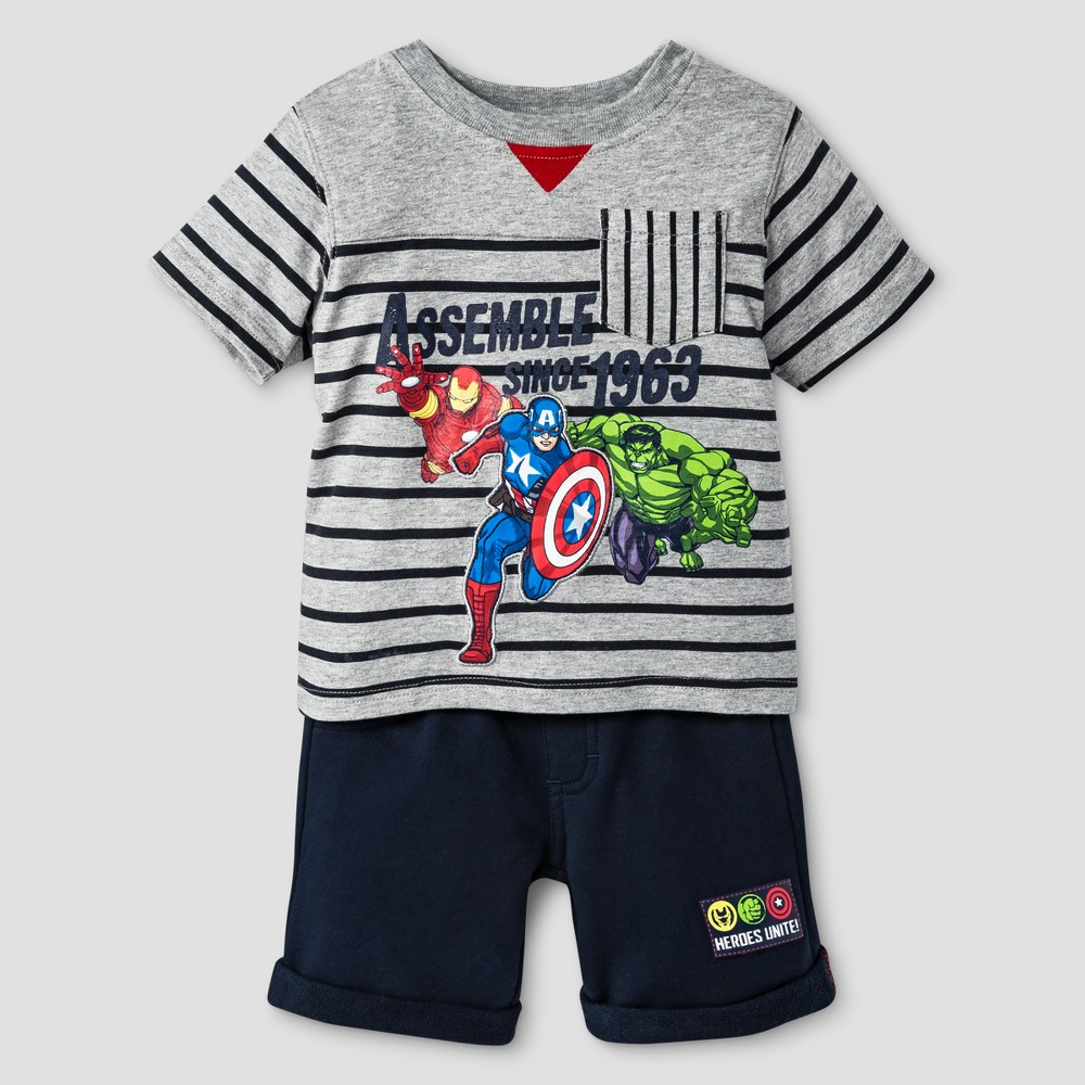 Toddler Boys' Avengers Top And Bottom Set Gray 12M, Size: 12 M