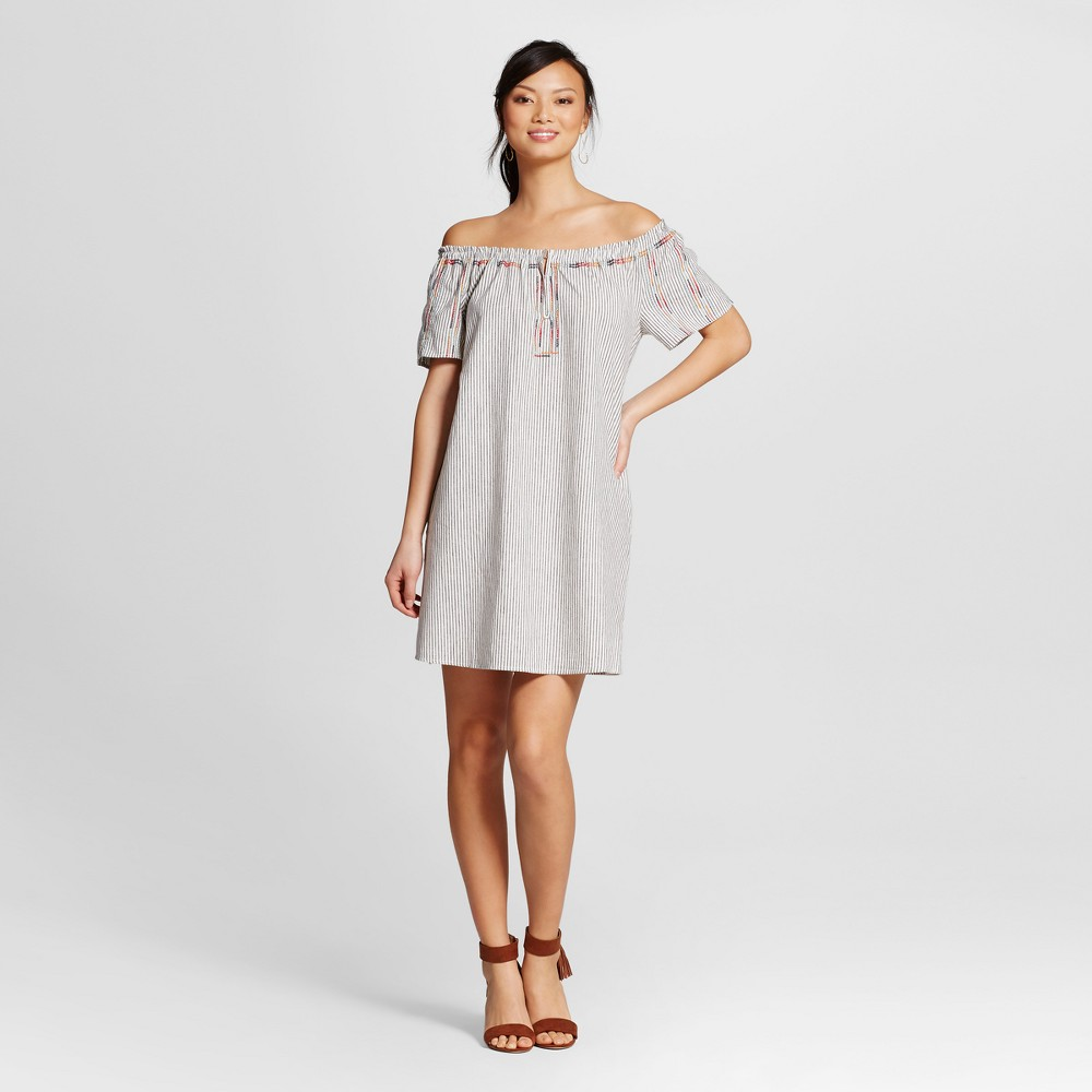Womens Off the Shoulder Stripe Dress with Multi Embroidery and Pockets - Knox Rose White XL