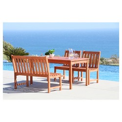 Malibu 4pc Rectangle Wood Patio Dining Set - Brown - Vifah