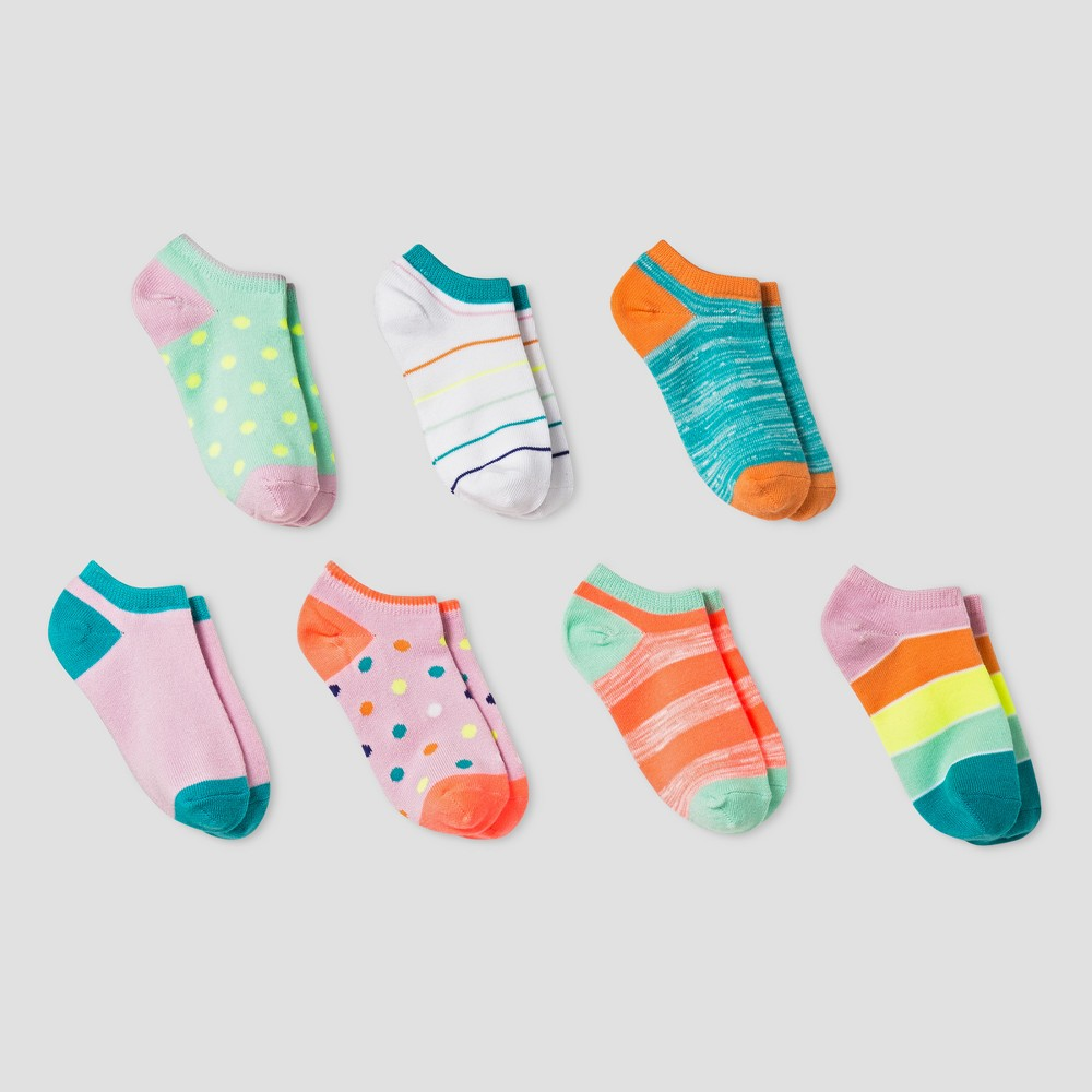 Girls 7pk No Show Socks - Cat & Jack Blue/Pink/Yellow S