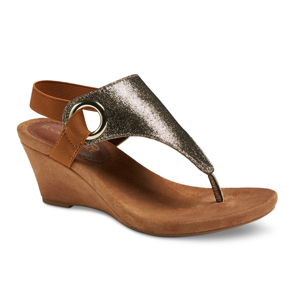Womens Mountain Sole Ashley Shimmer Wedge Sandals - Gold 7.5