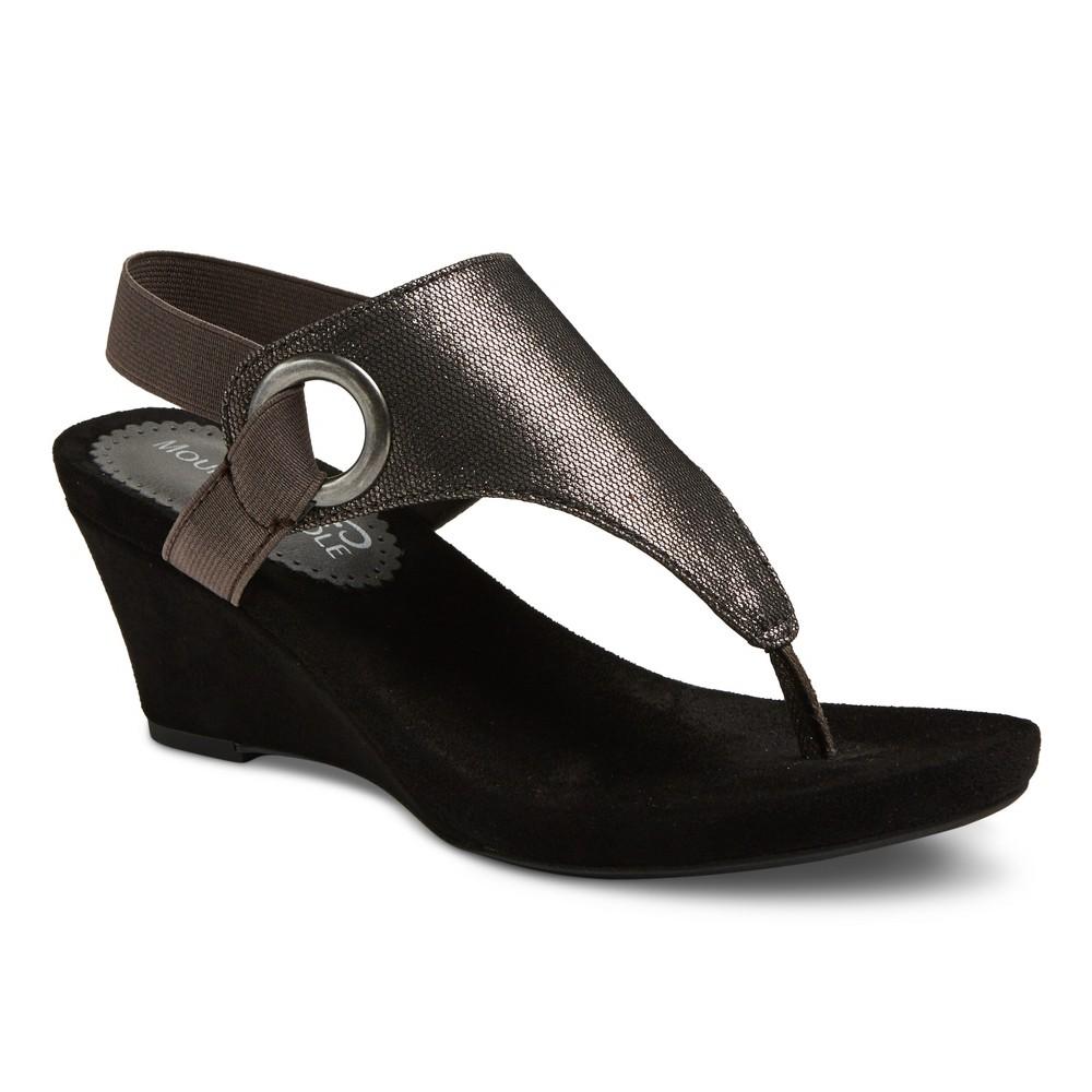 Womens Mountain Sole Ashley Shimmer Wedge Sandals - Gunmetal (Grey) 6