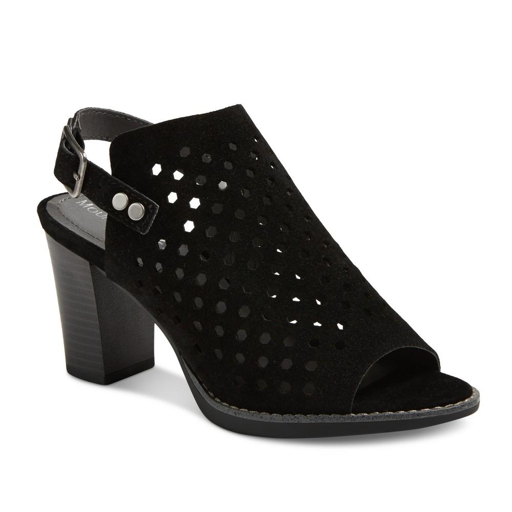 Womens Mountain Sole Graeme Laser Cut Open Toe Block Heel Sandals - Black 7
