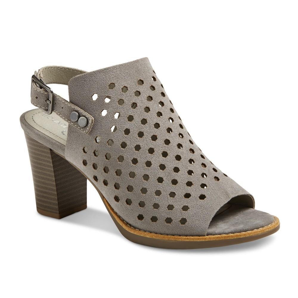 Womens Mountain Sole Graeme Laser Cut Open Toe Block Heel Sandals - Light Gray 8.5