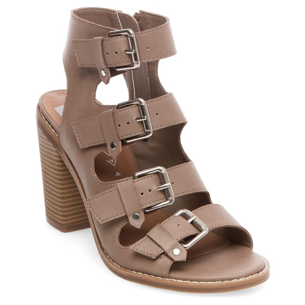 Women's dv Tessa Multiple Buckle Heeled Quarter Strap Sandals - Tan 7
