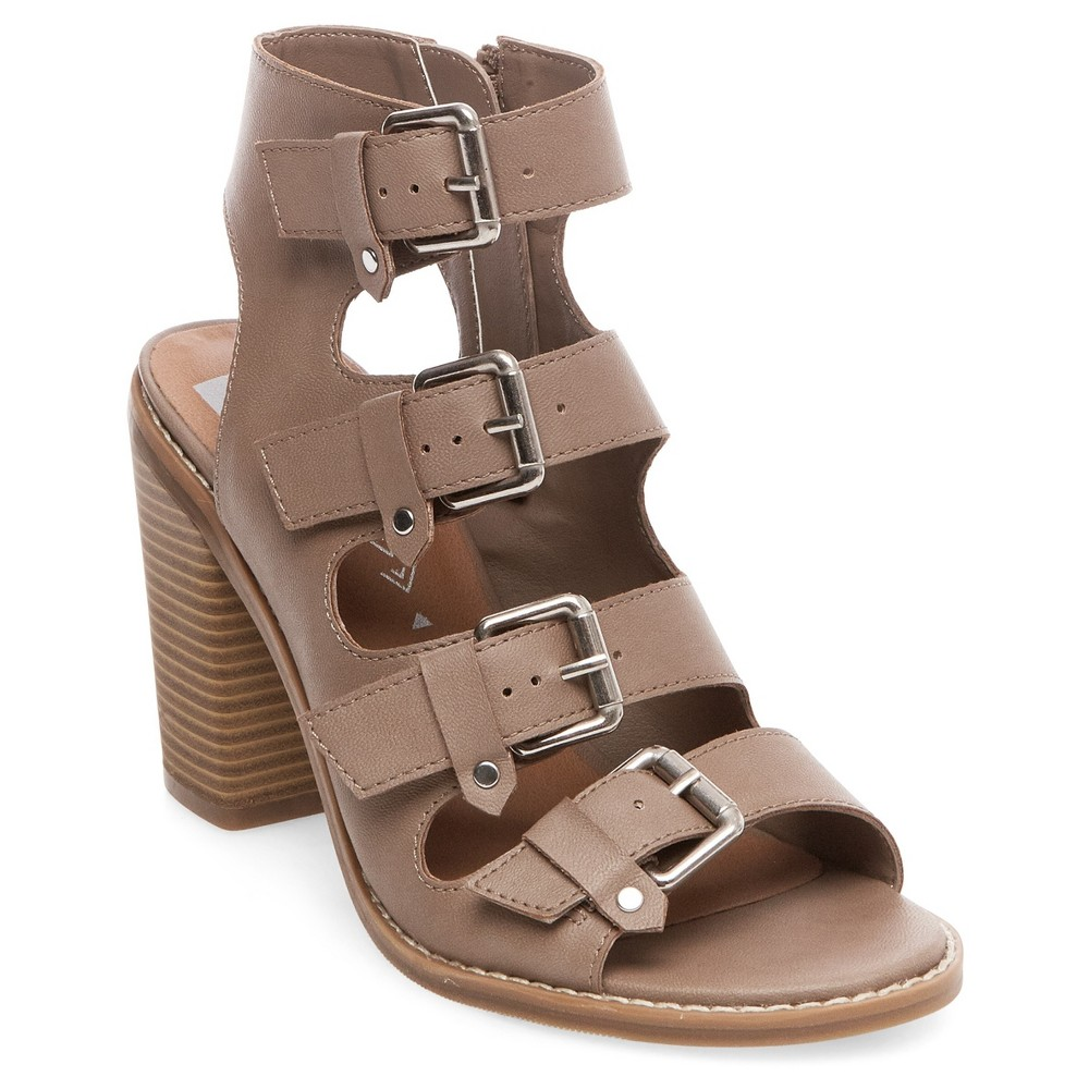 Womens dv Tessa Multiple Buckle Heeled Quarter Strap Sandals - Tan 10