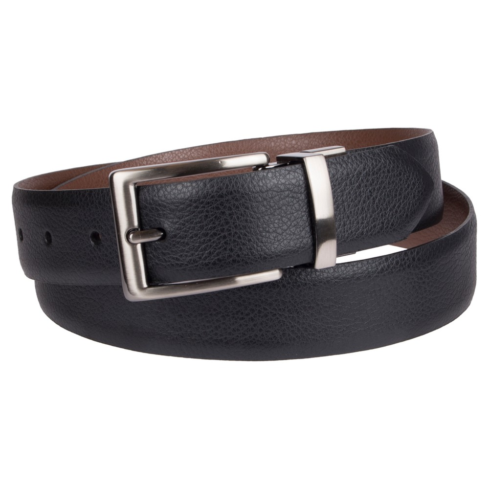 Mens 35mm Textured Reversible Belt - Goodfellow & Co Black/Tan XL, Size: XL (40-44)