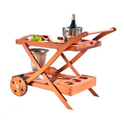 Vifah Eucalyptus Wood Serving Cart - Brown